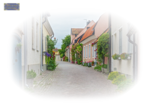 Street with old houses in a Swedish town Visby