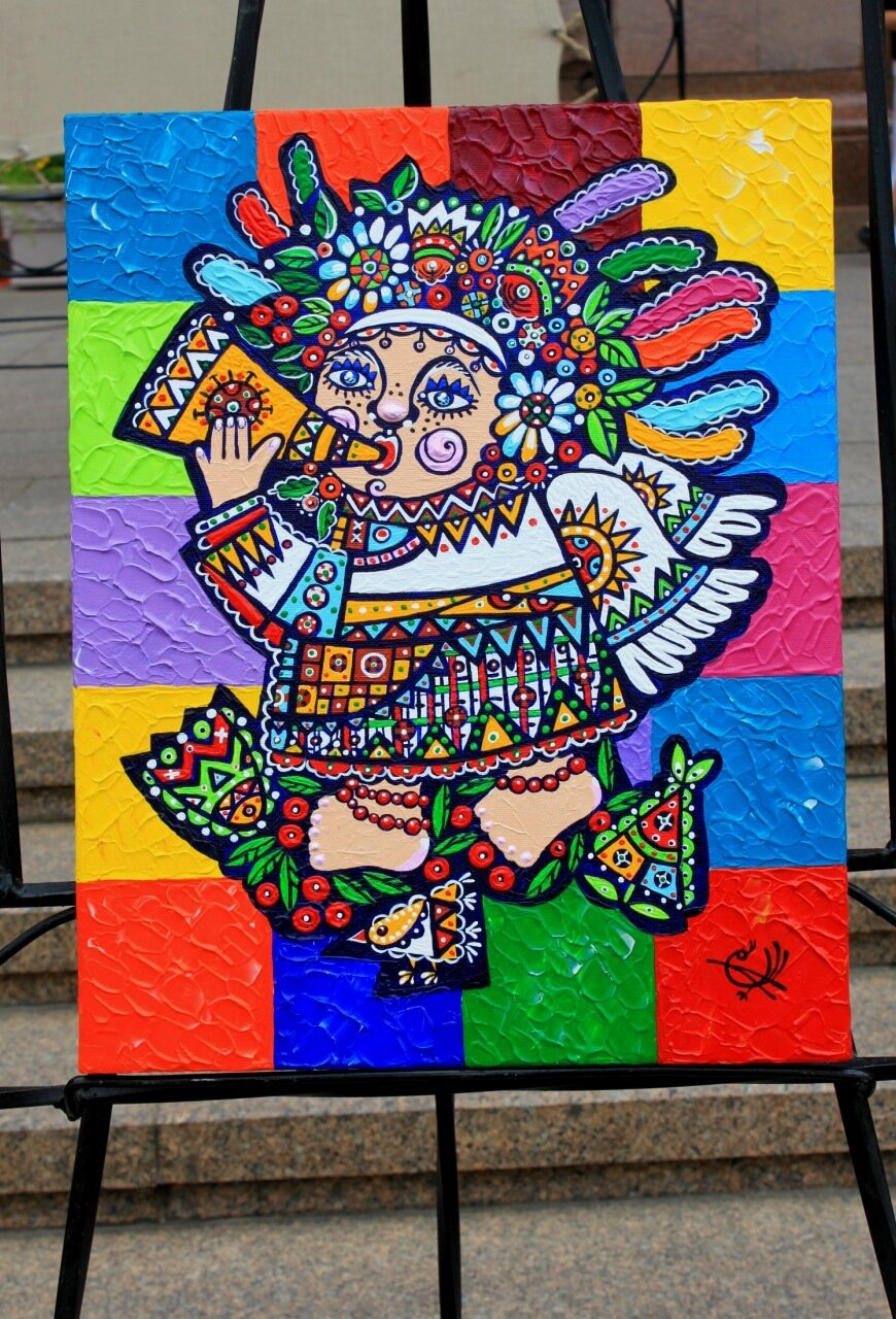 Музыкант фольклор картина живопись