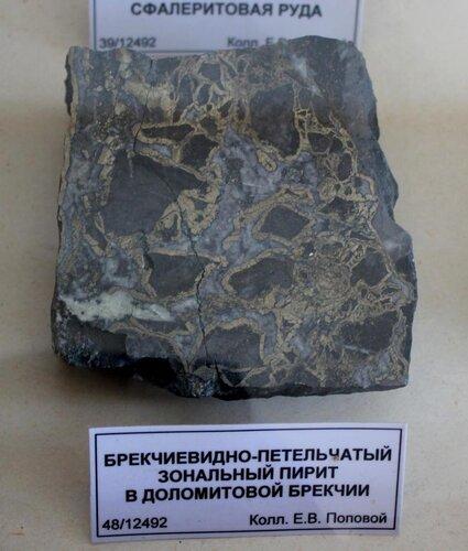 Брекчиевидно-петельчатый зональный пирит в доломитовой брекчии