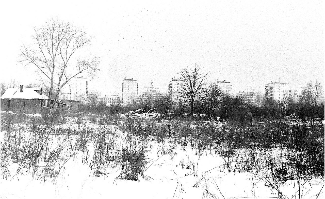 1981. Дома снесены, но еще остались их фундаменты, заборы, погреба, деревья и кусты. Слева колхозный гараж, по центру место, где сейчас находится мощенная площадка с аттракционами.