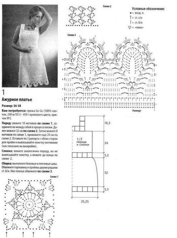 Вязаное летнее платье для женщин крючком схемы и описание