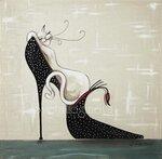 "Логинова Светлана. Картина на шелке-ДИПТИХ "" Модница-красавица на черной туфельке"""