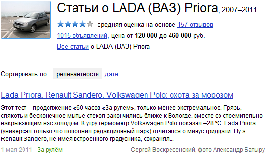 Статьи о Lada Priora
