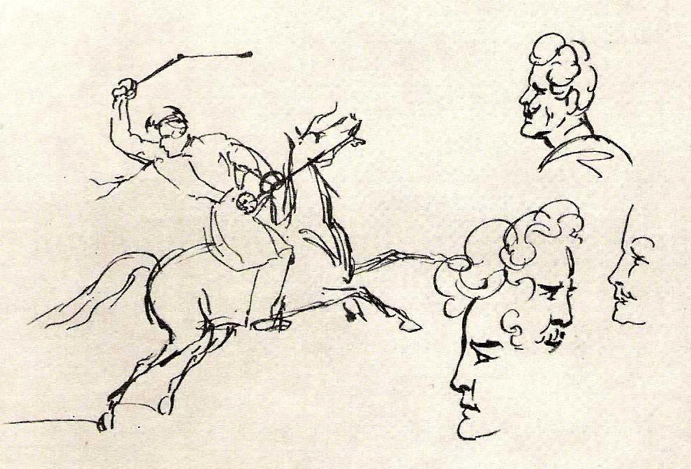 photo24Скачущий всадник и наброски мужских голов, 1832–34.jpg