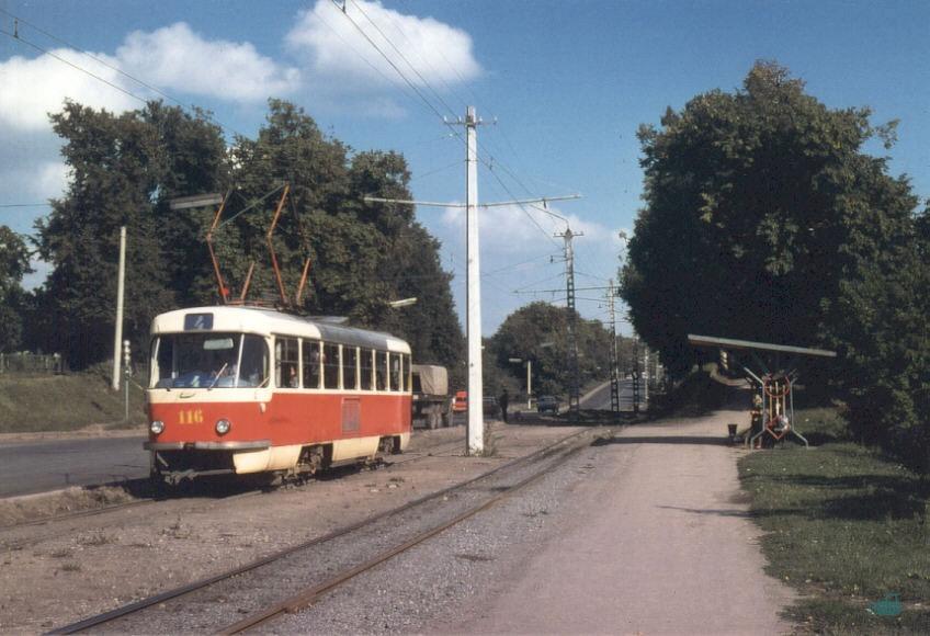 Трамвай следует вдоль Хмельницкого шоссе (1978 год)