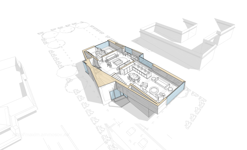 балкон в полууровне первого этажа компоновка помещения обогреватели в полу обеденный стол, план первого этажа кухня совмещённая со столовой кухня островок кухня в гостиной, эргономичные кресла, расстановка мебели в гостиной,