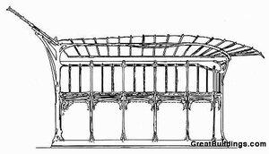 Оформление входа парижкого метро, архитекто Гектор Гимар, вид с боку
