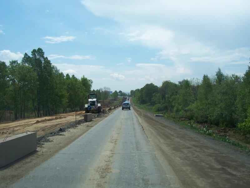 Реконструкция трассы в районе поселка Новый (Надеждинский район) 4-5-июня-2011
