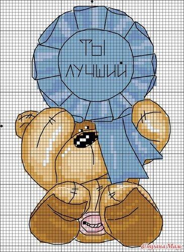 1. Схемы даны для вышивки крестом. мишка Фуззи.