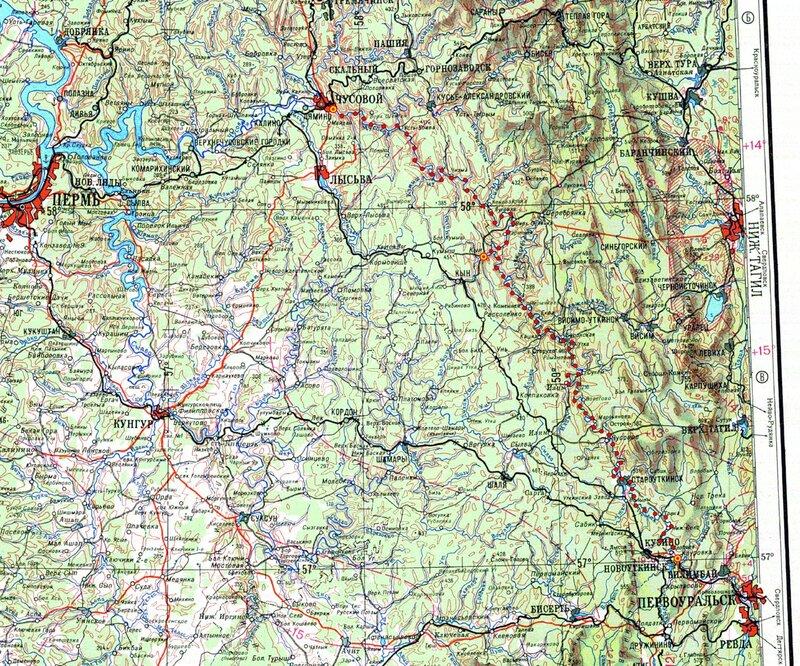 Карта сплава по реке Чусовой. Май-июнь 2011 года.