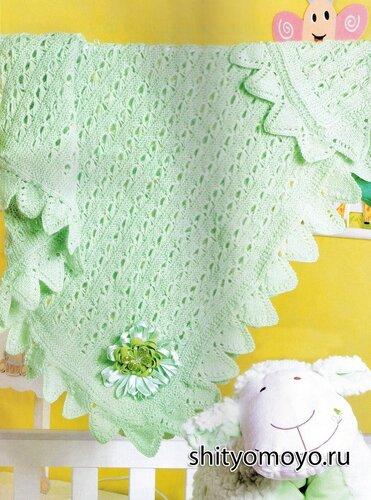 Вязание для детей: бесплатные модели вязания спицами - зеленый плед