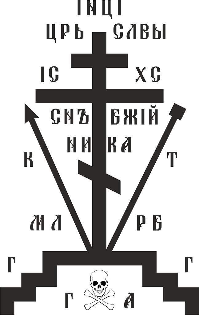 Крест схимнический Голгофа в векторе