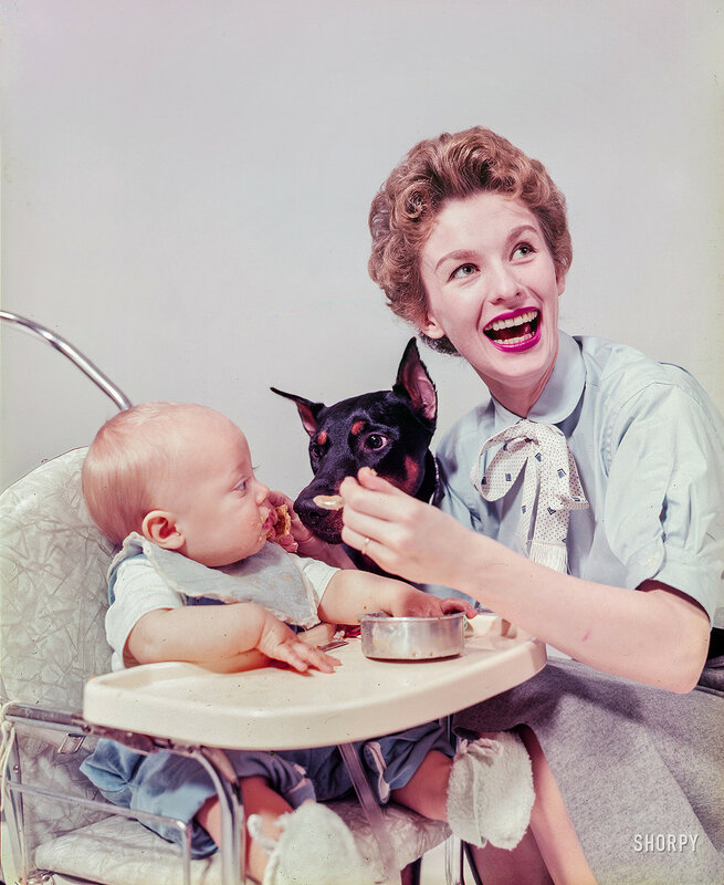 April 27, 1954. Actress Cloris Leachman at home with husband and baby. Includes Leachman bathing infant; husband diapering baby, Leachman feeding baby