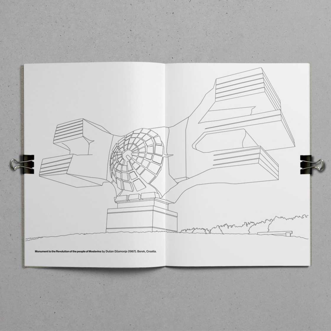 Brutalist Colouring Book – The coloring book of brutalist architecture (8 pics)