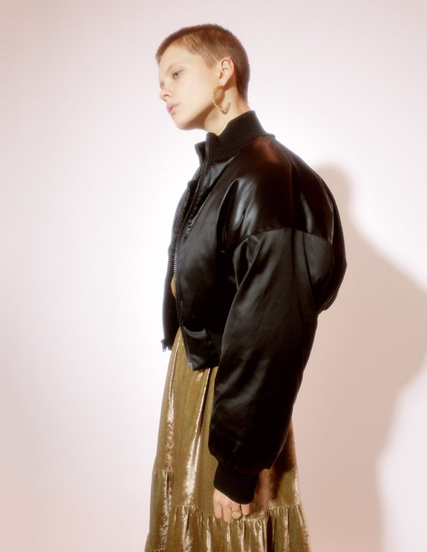 Earring MARIA STERN Bomber jacket DKNY Dress Katya Dobryakova