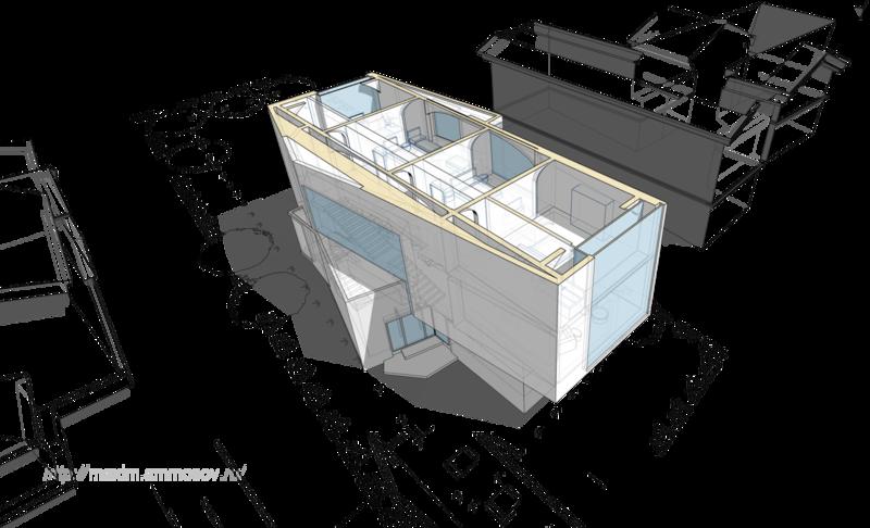 проекты коттеджей, балки перекрытия, мансарда лестница в середине дома