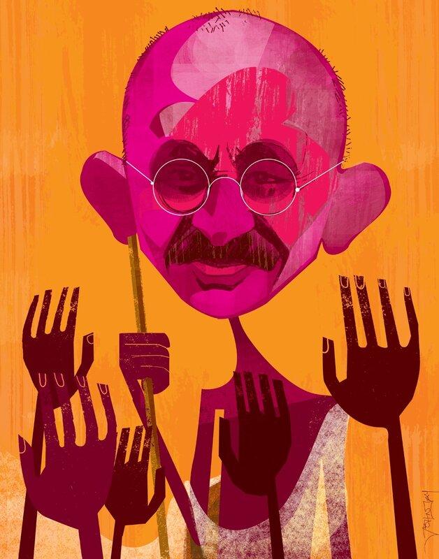john jay illustration.Ghandi