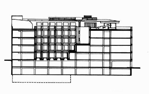 Здание государственного управления пенсионного обеспечения в Хельсинки, архитектор Алвар Аалто, разрез