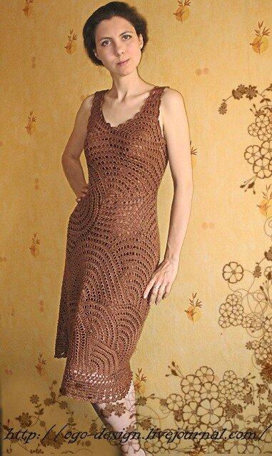 Платье из кругов крючком