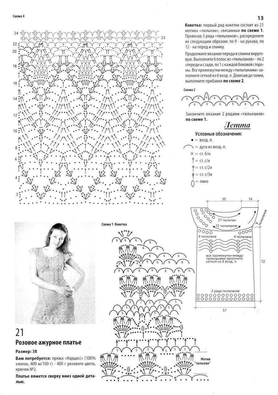 Вязание крючком платьясхемы описание 9