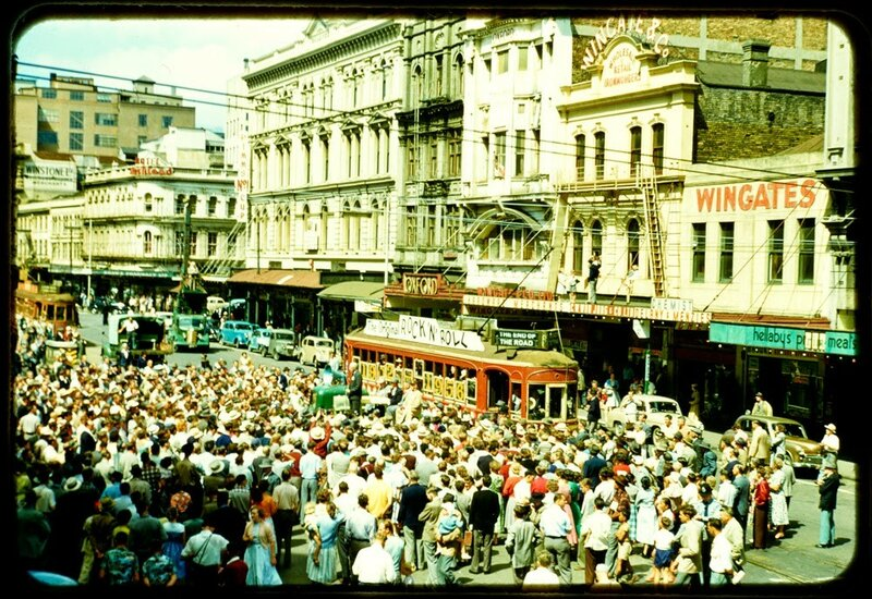 1956 Aucklend by Ron Clark, Auckland's last tram, December 1956.jpg