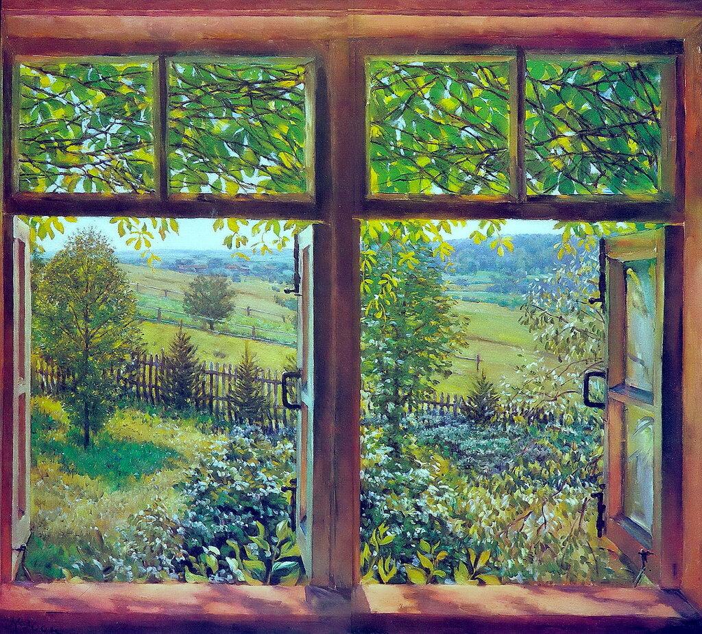 1947 Раскрытое окно. Лигачево. Х., м. 115х132. ГТГ.jpg