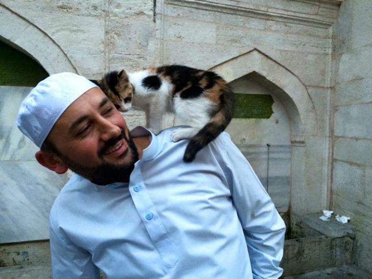 Имам Мустафа Эф. Одна кошка даже перенесла в мечеть своих котят.
