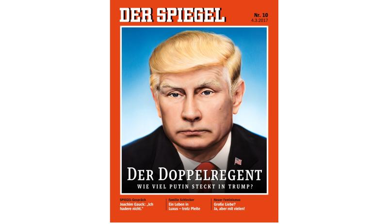 Гибридный портрет В. Путина иТрампа— наобложке Der Spiegel