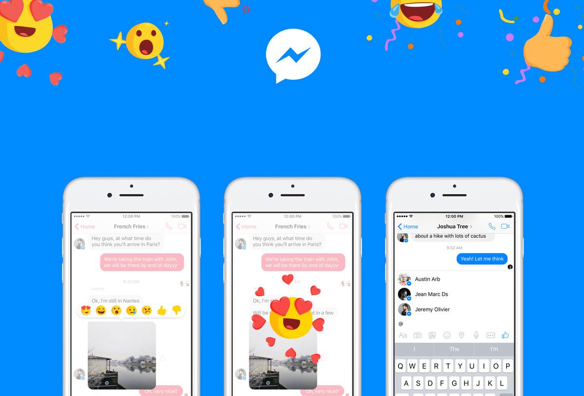 В социальная сеть Facebook Messenger добавлена поддержка реакций иупоминаний