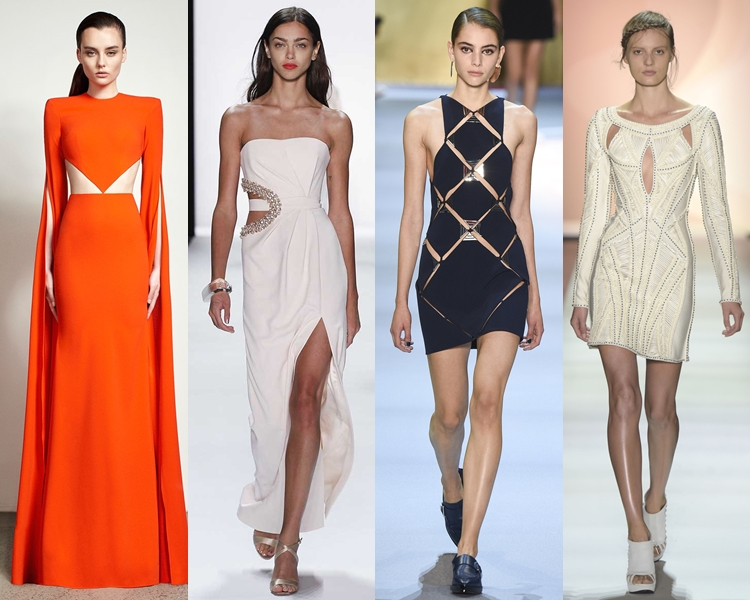 модный фасон платья 2016: платья с вырезами