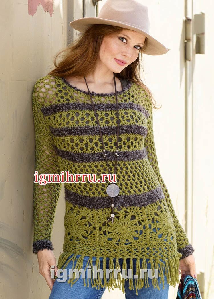Пуловер с бабушкиными квадратами и ажурными узорами. Вязание крючком и спицами
