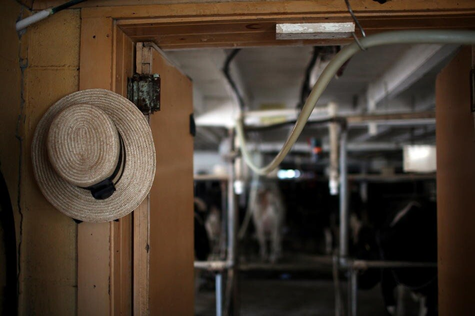 An Amish hat hangs in the doorway of a farm in Lancaster, Penn.