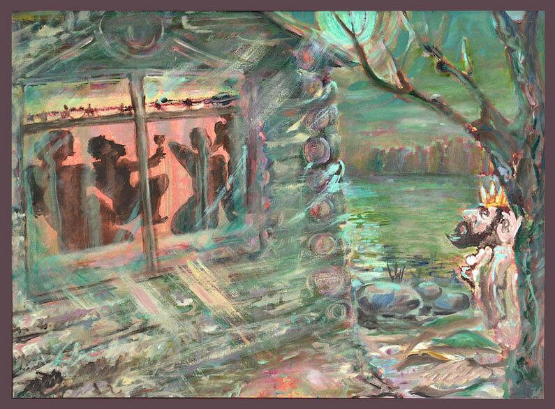 Пушкин рассказывает сказки трем девицам, царь под окном подслушивает