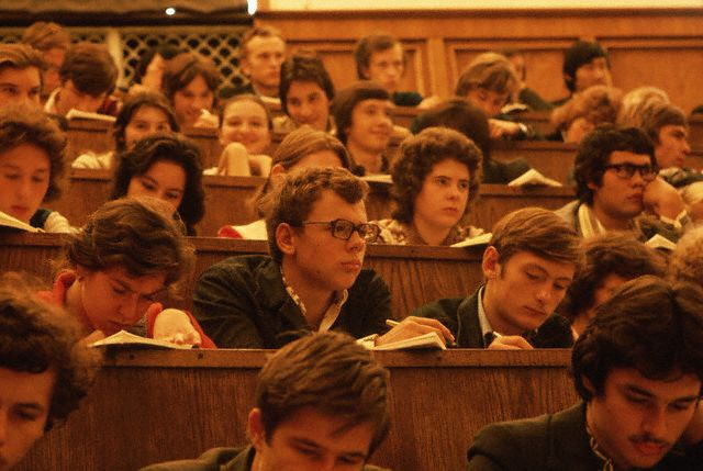 Students Attend a University Lecture