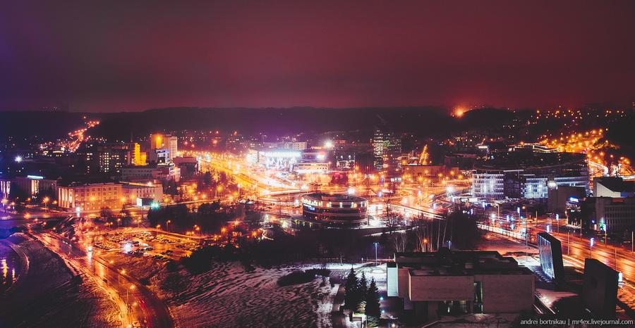 Новогодний Вильнюс, ночной Вильнюс, Литва зимой, панорама Вильнюса, Skybar view