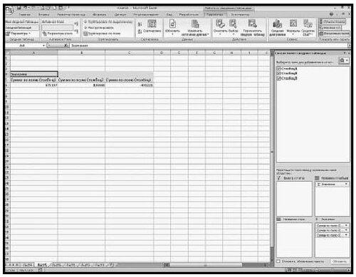 Рис. 5.94. Макет консолидированной таблицы с областью «Список полей сводной таблицы»
