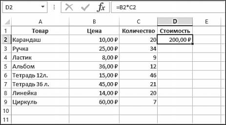 Рис. 5.38. Результат вычисления в ячейке D2
