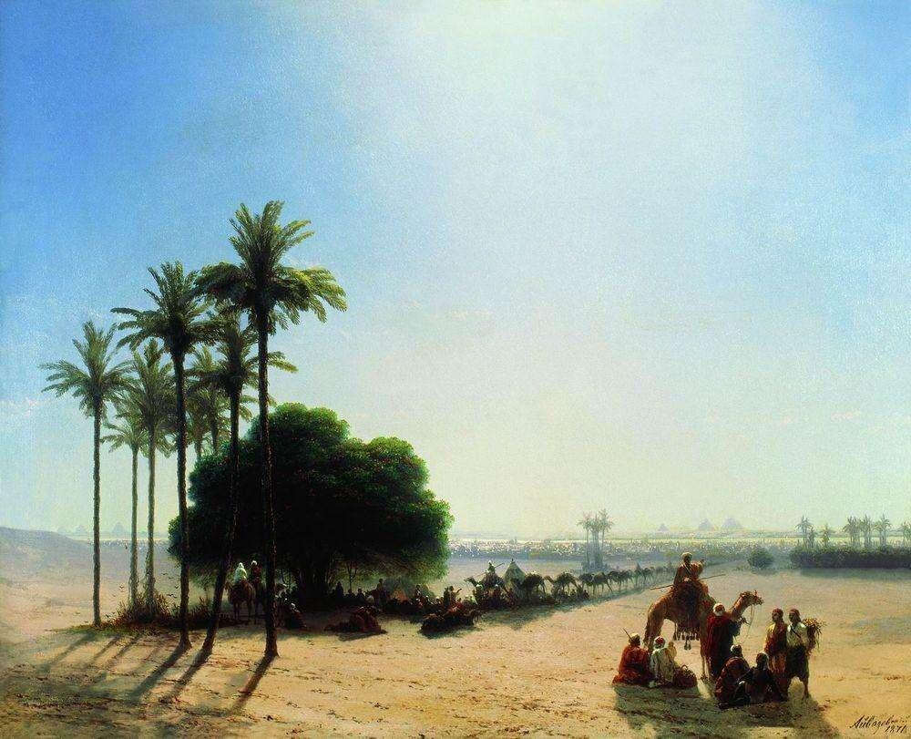 Айвазовский Иван Константинович. Караван в оазисе. Египет. 1871