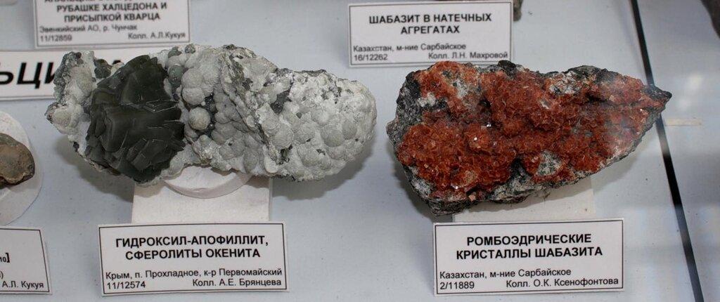 Гидроксил-апофиллит, сферолиты окенита; ромбоэдрические кристаллы шабазита