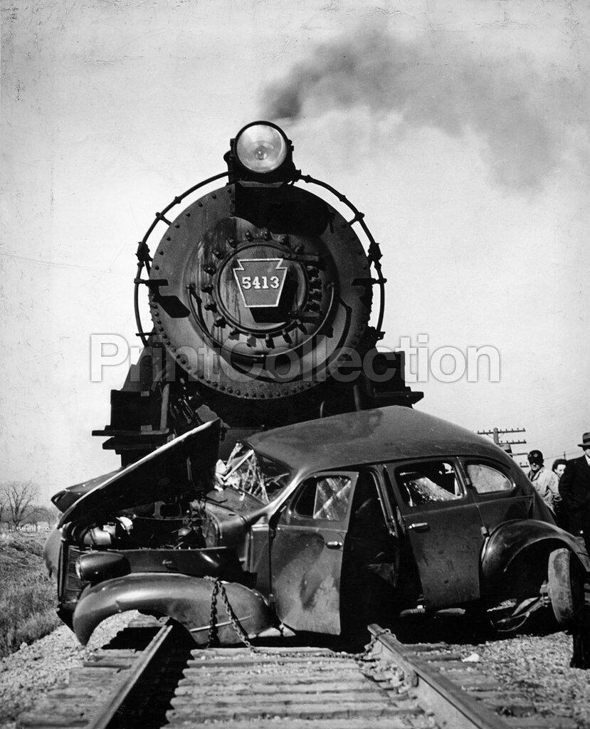 Steam Engine Train Car Crash