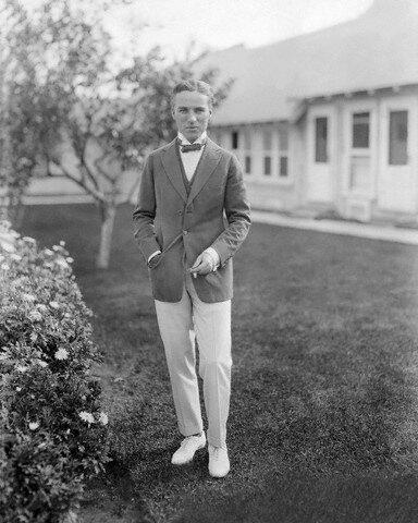 Actor Charlie Chaplin in Front of Studio