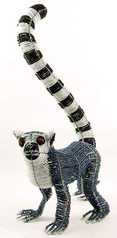 beaded wire art animal figurine - ring tailed lemur figurines.
