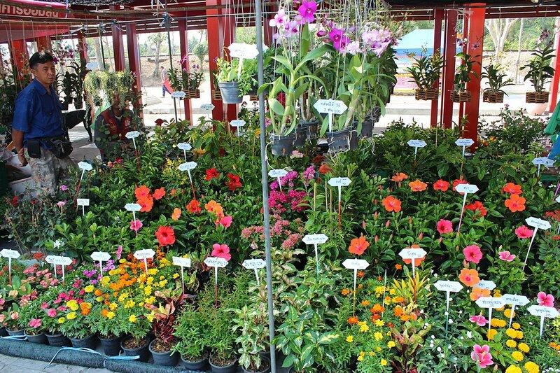Продажа цветов на рынке Талинг Чан, Бангкок