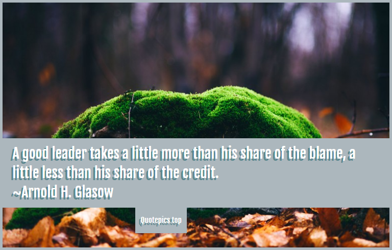 A good leader takes a little more than his share of the blame, a little less than his share of the credit. ~Arnold H. Glasow