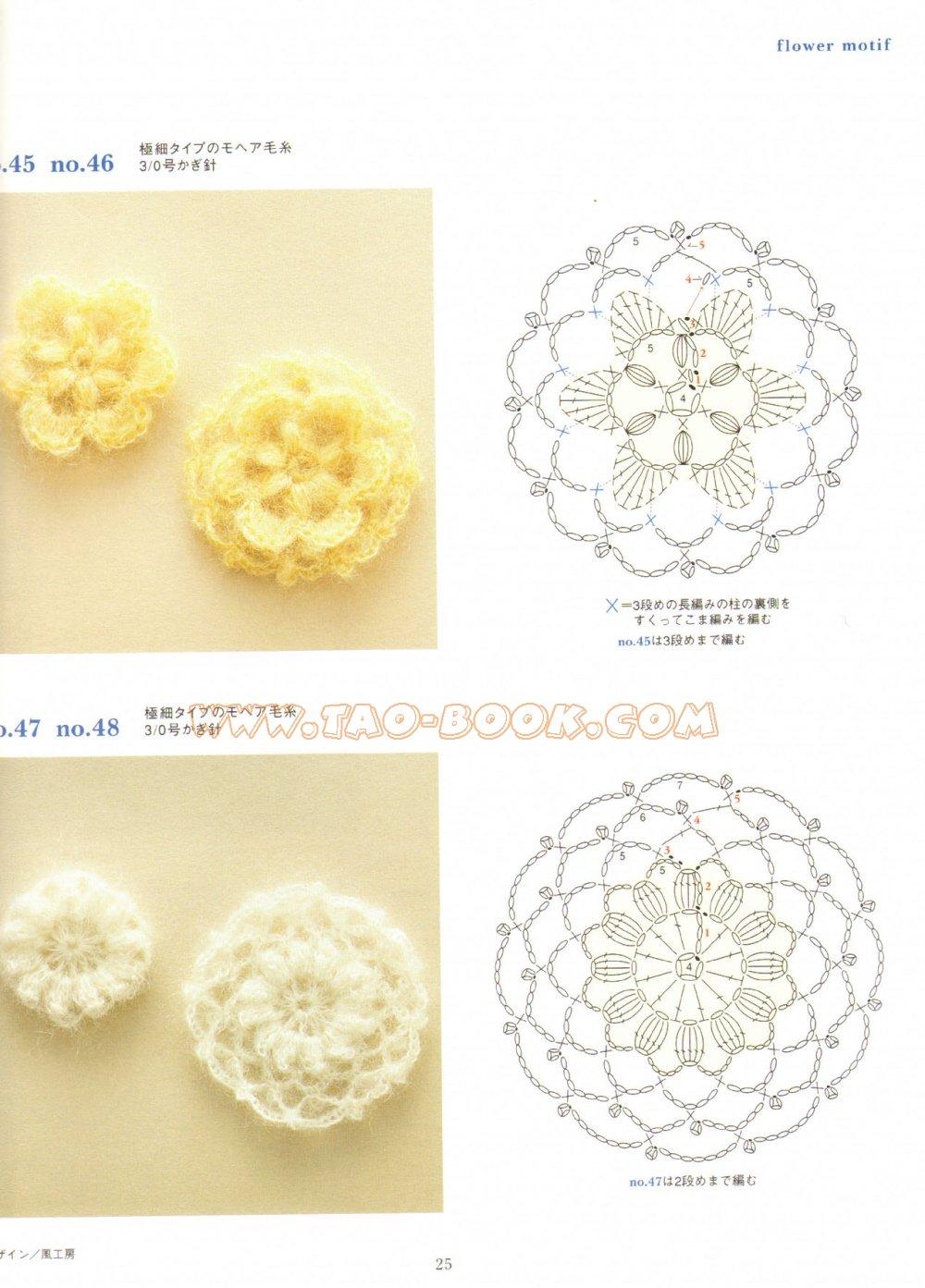 Маленькие цветы крючком со схемой