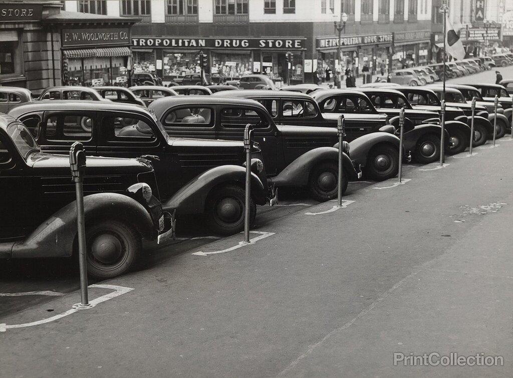Cars Parked Diagonally, Omaha, Nebraska