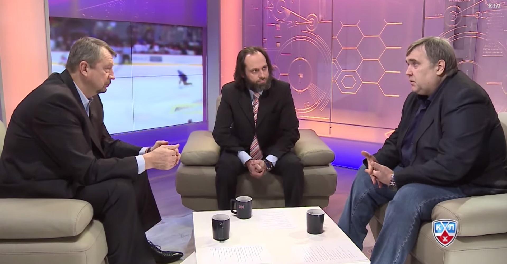 Сергей Гимаев, Дмитрий Федоров и Юрий Розанов в эфире КХЛ ТВ