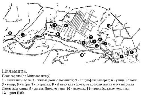 Пальмира, Сирия, генплан города (по Михаловскому)