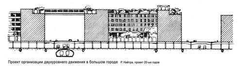 Проект организации двухуровнего движения в большом городе Р. Нейтра, разрез