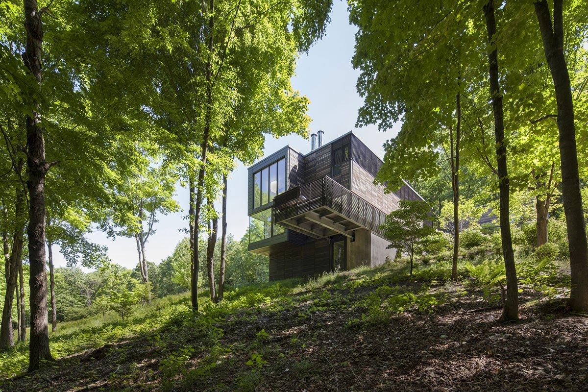Anmahian Winton Architects, Red Rock, дом в лесу фото, особняк в лесу, особняки америки, фасад из темной древесины, балкон в частном доме, дома в Ред Рок